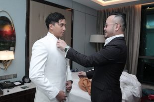 Ge Pamungkas Fiiting baju akad nikah di Wong han semalam. Foto: Rezz.
