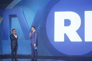 Direktur Utama TVRI Helmy  Yahya, saat memberikan kata sambutan dalam peluncuran logo baru TVRI, Jumat (29/3/2019). Foto: DSP.