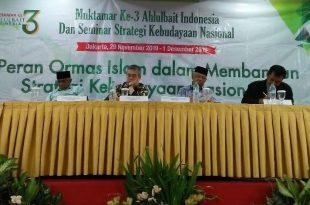 Ormas Islam Ahlulbait Indonesia (ABI) menggelar Muktamar yang ketiga dan Seminar Kebangsaan bertajuk Peran Ormas Islam Dalam Membangun Strategi Kebudayaan Nasional, di Hotel Arcadia, Jakarta, Jumat (29/11/2019) hingga Minggu (1/12/2019). Foto: ibra.