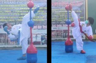 Atlet Briyan dan Azzura saat memperagakan teknik shadow kumite karate secara virtual di Kejuaraan Karate Internasional SBY Open Championship XVII/2021.(Ist).